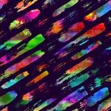 与刷子条纹和冲程的无缝的样式 彩虹在紫罗兰色背景的水彩颜色 手画农庄 图库摄影