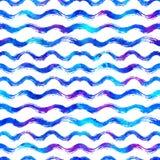 与刷子条纹和波浪的无缝的样式 在白色背景的蓝色颜色 手画农庄纹理 墨水 库存图片