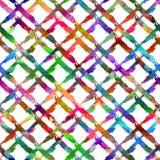 与刷子条纹格子花呢披肩的无缝的样式 彩虹在白色背景的水彩颜色 画的当地农庄纹理 库存图片