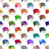 与刷子条纹的无缝的样式和冲程挥动漩涡 在白色背景的彩虹颜色 手画农庄 图库摄影