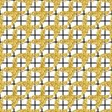 与刷子的现代无缝的样式镶边格子花呢披肩和十字架 染黑,在白色背景的金子金属颜色 金黄 库存图片