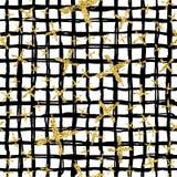 与刷子的现代无缝的样式镶边格子花呢披肩和十字架 染黑,在白色背景的金子金属颜色 金黄 免版税图库摄影