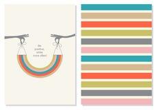 与刺激行情的传染媒介创造性的卡片 正微笑 库存例证