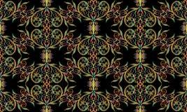 与刺绣作用的锦缎无缝的样式 库存照片