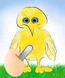 与削减蛋壳动画片的锯的鸟 库存照片