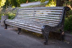 与削皮油漆的一条老灰色长凳,到公园里 水平的框架 库存图片