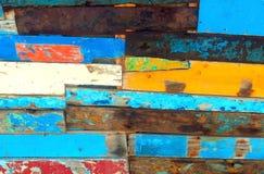 与削皮油漆的木板条 库存照片