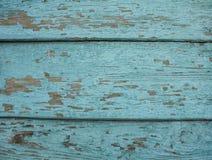 与削皮油漆的老木板条 背景蓝色金模式葡萄酒 免版税图库摄影
