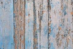 与削皮油漆的葡萄酒木背景 老木板条纹理背景 蓝色被绘的木头 免版税库存图片