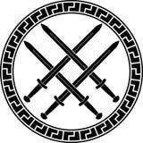 与剑的北欧海盗标志 第三个变形 库存照片