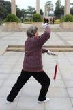 与剑的年长执行的tai池氏在冬天 免版税图库摄影