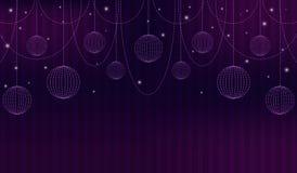与剧院帷幕、小珠、闪闪发光和球形的紫罗兰色抽象背景 也corel凹道例证向量 免版税库存照片