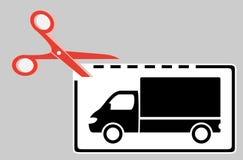 与剪刀和卡车的交付优惠券 免版税库存图片