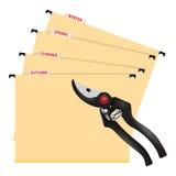 与剪刀的文件夹整理的 免版税库存照片