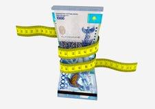 与剪刀的3D哈萨克斯坦货币 向量例证