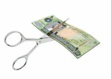 与剪刀的3D巴林货币 向量例证