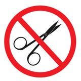 与剪刀纵的沟纹象的禁止的标志 向量例证