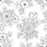 与剪影墨水手拉的花的无缝的表面样式 库存照片