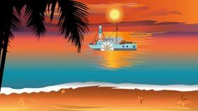 与剪影慢棕榈树和汽轮的日落视图在海洋 向量例证