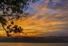 与剪影树的日落在小山顶 库存图片