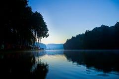 与剪影树,剧痛oung泰国的美丽的水库 免版税库存照片