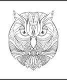 与剪影猫头鹰的明亮,五颜六色的印刷品 成人着色 免版税库存照片