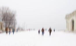 与剪影的抽象冬天背景 图库摄影