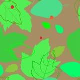 与剪影的绿色叶子的图象和等高的样式 免版税库存图片