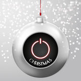 与力量按钮的圣诞节球 免版税库存图片