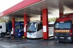 与力量的加油站汽车洗涤物的 免版税库存图片