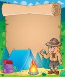 与劝告侦察员男孩的羊皮纸 免版税库存图片