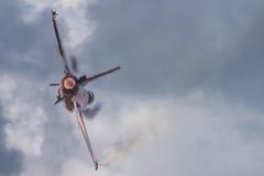 与加力燃烧室的喷气式歼击机 库存照片
