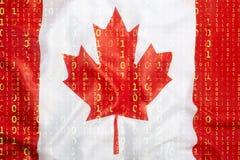 与加拿大旗子的二进制编码,数据保护概念 库存图片