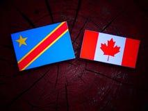 与加拿大旗子的刚果民主共和国旗子在被隔绝的树桩 免版税库存图片