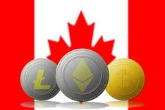 与加拿大旗子的Litecoin Ethereum Bitcoin cryptocurrency在背景 免版税库存图片