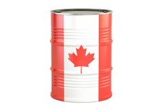 与加拿大的旗子的油桶 石油生产和贸易概念 向量例证