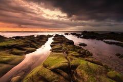 与动乱的预兆的橙色日落与美丽的生苔岩石前景 免版税库存照片