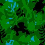 与动植物风格化相交的剪影的无缝的样式  库存照片