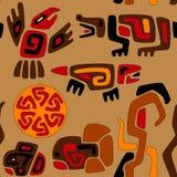 与动物和太阳的无缝的风格化部族样式 免版税库存图片