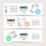 与动物的农夫横幅 库存照片