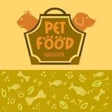 与动物的商标宠物食品商店的 猫和狗 免版税库存图片
