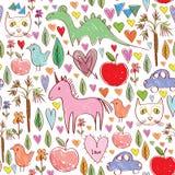 与动物的女孩生日桃红色无缝的样式 库存图片