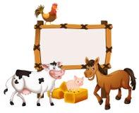 与动物的框架模板在农场 向量例证