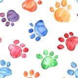 与动物脚印的水彩例证 免版税库存照片