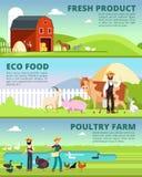 与动画片农夫字符和牲口传染媒介集合的有机耕田和农工联合企业横幅 向量例证