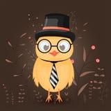与动画片动物的礼物明信片在一块高顶丝质礼帽、领带和玻璃的一只鸡 与分支的装饰花卉背景 免版税库存照片