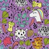 与动画片头骨和死的独角兽的五颜六色的不尽的样式 免版税库存图片