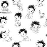 与动画片小男婴的可爱的无缝的样式 皇族释放例证