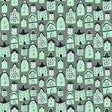 与动画片房子的逗人喜爱的无缝的模式 库存照片