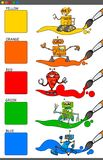 与动画片机器人的基本的彩色组 皇族释放例证